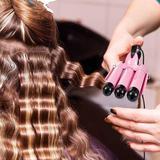 Rebrilliant 3-Barrel 25Mm Ceramic Hair Curler, Dual Voltage Crimp Hair Styler Wand w/ LCD Temperature Display(US Plug) in Pink   Wayfair