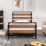 17 Stories Twin Size Platform Bed Frame w/ Wooden Headboard&Footborad & Metal Slats/Noise Free/No Spring Box Needed/Black Wood/Wood & Metal/Metal