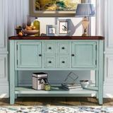 Rosecliff Heights Buffet Table, Cambridge Series Sideboard Table w/ Bottom Shelf, Console Table Dining Room Server in Blue   Wayfair