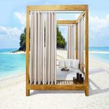 """Wide Width Outdoor Decor Seascapes Stripes Outdoor Grommet Curtain Panel Pair by Commonwealth Home Fashions in Linen (Size 50"""" W 108""""L)"""