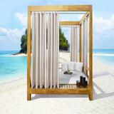 """Wide Width Outdoor Decor Seascapes Stripes Outdoor Grommet Curtain Panel Pair by Commonwealth Home Fashions in Linen (Size 50"""" W 96"""" L)"""