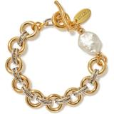 Duet Pearl Gold And Silver-plated Brass Bracelet - Metallic - Lizzie Fortunato Bracelets
