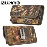 Horizontal Camo design Phone Pouch Case Made from Premium Nylon with Card slots and Belt clip, Brown For X Charge