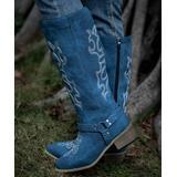 ZILVER Women's Western Boots Blue - Blue & White Stitch-Accent Cowboy Boot - Women