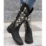 BUTITI Women's Western Boots Black - Black & White Floral Embroidered Tall Cowboy Boots - Women