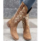 BUTITI Women's Western Boots KHAKI - Brown & White Floral Embroidered Tall Cowboy Boots - Women