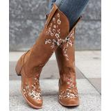 BUTITI Women's Western Boots BROWN - Brown & White Floral Embroidered Cowboy Boots - Women