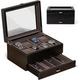 ABS Watch Box Organizer For Men – 8 Watch Case w/ Drawer   Mens Watch Box For Large Watches   Watch Cases For Men   Watch Display Case For Men   W