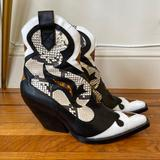 Zara Shoes | Heeled Snakeskin Cowboy Boot | Color: Black/White | Size: 9