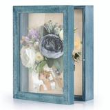 HOU Shadow Box Frame 8X10 Shadow Box Display Case w/ Linen Back Memorabilia Awards Medals Photos Memory Box Size: 8X10 in Blue   Wayfair
