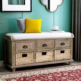 Rosecliff Heights Rustic Storage Bench w/ 3 Drawers & 3 Rattan Baskets, Shoe Bench w/ Removable Cushion For Living Room in Brown/White   Wayfair