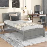 Red Barrel Studio® Wood Platform Bed w/ Headboard Wood in Gray, Size 35.4 H x 41.7 W x 79.5 D in | Wayfair AEEE932D373A424EB254CD190F4CA313