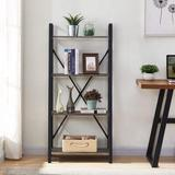 17 Stories Ladder Shelf 4 Tier Leaning Industrial Bookshelf, Rustic Wood Metal Ladder Bookcase, Standing Storage Book Shelves For Living Room Metal