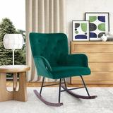 Corrigan Studio® MANE TREES Modern Velvet Rocking Chair For Living Room Upholstered Comfortable Nursery Rocking Chair w/ Solid Wood Base For Bedroom Accent Chair (Af