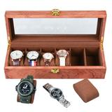 Red Barrel Studio® Wooden Paint Watch Box-6 Wide Watch Slots Vintage Watch Box Wooden Watch Box, Size 12.4 H x 4.3 W x 3.2 D in   Wayfair