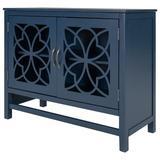 Red Barrel Studio® U-Style Wood Accent Buffet Sideboard Storage Cabinet w/ Doors & Adjustable Shelf, Entryway Kitchen Dining Room Wood in Blue