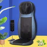 Inbox Zero Massage Chair Pad Shiatsu Neck & Back Massager W/Heat, Full Back Kneading Shiatsu & Rolling Massage in Blue | Wayfair