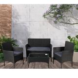 Winston Porter Wicker/Rattan 4 - Person Seating Group w/ Cushions Metal/Wicker/Rattan/Rust - Resistant Metal in Black/Brown/Gray | Wayfair