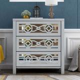 "Red Barrel Studio® Lula 26"" Solid Wood Storage Cabinet w/ Mirror Set Wood in Gray, Size 28.0 H x 26.0 W x 12.2 D in   Wayfair"