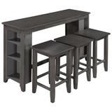Red Barrel Studio® Rustic Farmhouse Counter Height Wood 4-Piece Kitchen Dining Table Set w/ 3 Stools & Storage Shelves-Gray | Wayfair