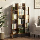 17 Stories Damika Bookshelf w/ 2Drawers, Rustic Wood Bookshelves, Free Standing Book Shelf Industrial Shelf Free Standing Storage Shelf For Bedroom