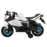 BOKIO Ride On Toy Racing Style Motorcycle Electric Tricycle Battery Operated w/ Light & Mp3 Blue Plastic in White, Size 22.8 H x 18.3 W x 34.2 D in