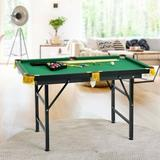 """City Elves 47"""" Folding Billiard Table Pool Game Table w/ Cues & Brush Chalk, Size 29.0 H x 47.0 W x 26.0 D in 