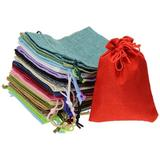 20 Colored Burlap Gift Bags Fabric Jewelry Pouches w/ Drawstring For Wedding Party Favor Christmas Birthday Valentine Snack Soap Gift Giving Packagi