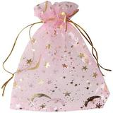 OLO 100 Pieces Moon Star Organza Jewelry Candy Bags,Sheer Organza Favor Bags Gift Pouch w/ Drawstring For Wedding Party Valentine's Day   Wayfair