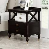 Darby Home Co Modern Black Cherry 2 Drawer Nightstand Wood in Brown/Green, Size 27.5 H x 23.6 W x 17.0 D in   Wayfair