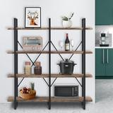 17 Stories Double Wide 4-Tier Bookcase Storage Organizer, Industrial Large Open Metal Bookshelf Furniture, Etagere For Home & Office Wood in Brown
