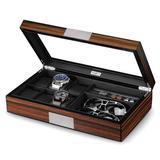 Loon Peak® Watch Jewelry Box For Men 6 Slot Watch Box,6 Watch Case 8 Pair Cufflinks & Sunglasses Display Box in Brown   Wayfair