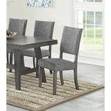 Red Barrel Studio® Modern Gray Fabric Upholstered Set Of 2 Side Chairs Dining Room Saw Tooth Engraving Wood/Upholstered in Brown/Gray | Wayfair