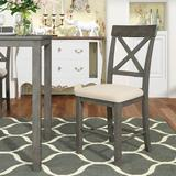 Rosalind Wheeler Topmax Wood 4-Piece Counter Height Dining Upholstered Chairs, Gray+Beige Cushion Wood/Upholstered/Fabric in Brown/Gray   Wayfair