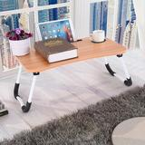 Inbox Zero Large Bed Tray Foldable Portable Multifunction Laptop Desk Lazy Laptop Table in Brown, Size 11.0 H x 15.7 W x 23.6 D in   Wayfair