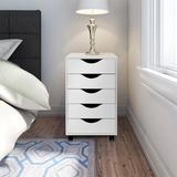 "Ebern Designs Mobile Filing Storage File Vertical Wood Cabinet w/ Wheel Lockable Casters, 5-drawer, 24""h Wood in Brown/White | Wayfair"