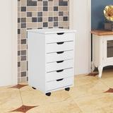 Latitude Run® 6-Drawer Mobile Vertical Filing Cabinet Wood in Brown/White, Size 25.6 H x 13.4 W x 15.4 D in | Wayfair