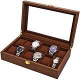 Latitude Run® Watch Box, Executive 12 Slots Watch Case w/ Valet, Glass Topped Wooden Watch Display Case Watch Organizer, Jewelry Storage Case