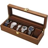 Latitude Run® Watch Box, Executive 6 Slots Watch Case w/ Valet, Glass Topped Wooden Watch Display Case Watch Organizer, Jewelry Storage Case Wayfair