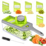 yuzhuoyongchi Mandoline Slicer Thickness Adjustable, FITNATE 9 In 1 Vegetable Chopper & Slicer w/ 5 Replaceable Slicing Blades in Green | Wayfair