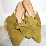 Madewell Shoes   Madewell Remi Bow Slip On Mules In Spiced Olive   Color: Green/Tan   Size: 7