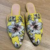 J. Crew Shoes   J.Crew Yellow Floral Pointed Toe Mule Slide Flats   Color: Yellow   Size: 7.5