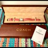 Coach Accessories | Coach Pink Lizard Band Watch Swiss Made Exc Cond | Color: Pink/Silver | Size: Os