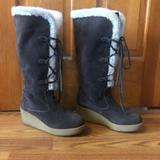 Michael Kors Shoes | Michael Kors Tall Lace Up Wedge Shearling Boots | Color: Brown/White | Size: 10