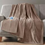 Beatyrest Heated Plush Throw Blanket 60 x 70, 60 x 70, Mink