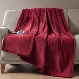 Beatyrest Heated Plush Throw Blanket 60 x 70, 60 x 70, Red