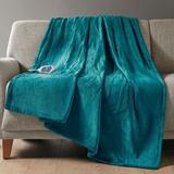 Beatyrest Heated Plush Throw Blanket 60 x 70, 60 x 70, Teal