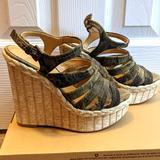 Nine West Shoes   Nine West High Platform Camo Wedge Sandal   Color: Cream/Green   Size: 7
