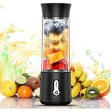 Tanbaby 500Ml Portable Blender 4000Ma USB Rechargeable Smoothie Blender Personal Juicer Cup Fruit Mixer in Black, Size 10.63 H x 3.54 W x 3.54 D in