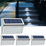 LAKEKYD Solar Step Lights Outdoor 30 LED Stainless Steel Solar Lamps Waterproof Fence Lights For Stairs Patio Pathway Walkway ( Cool Light) in White